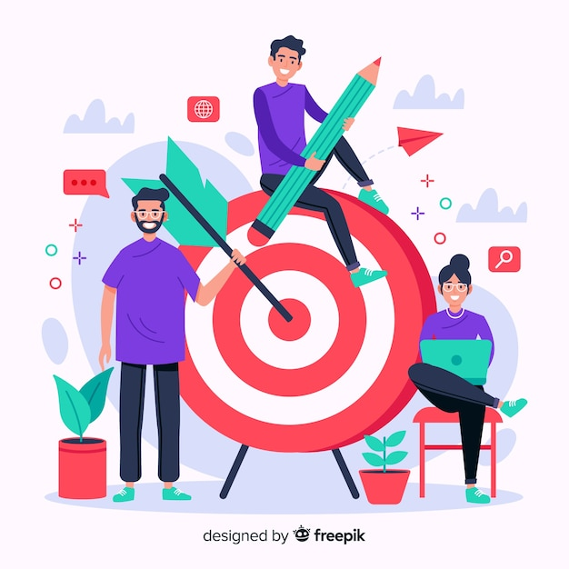 Brand concept illustration in flat design Free Vector