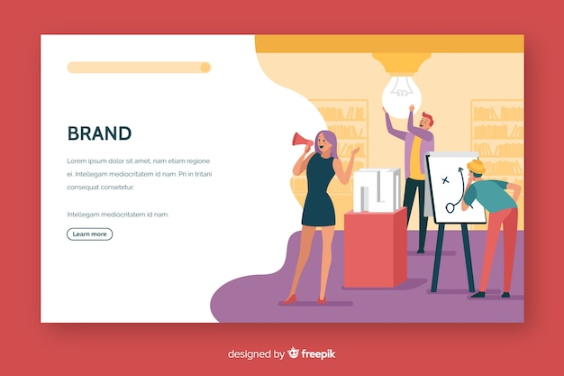 Brand concept landing page flat design Free Vector