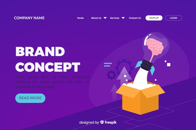 Brand concept for landing page Free Vector