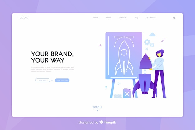 Brand concept landing page Free Vector