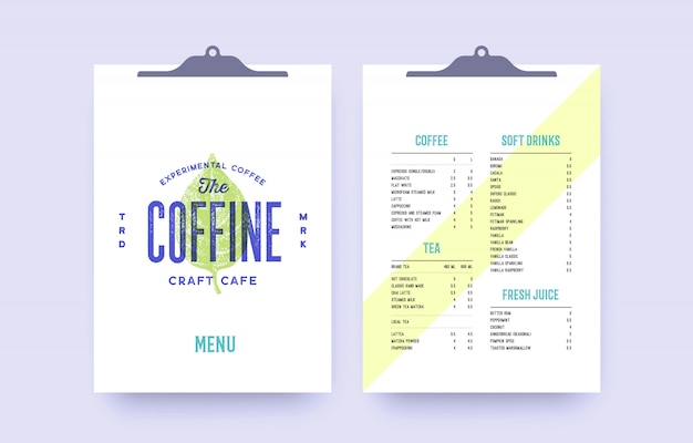 Фирменный стиль установлен для кафе, ресторан-бара, паба. старая школа старинные шаблон меню, метка, логотип с крышкой и шаблон списка текста. винтажное меню буфера обмена для бара, кафе, ресторана. иллюстрация Premium векторы