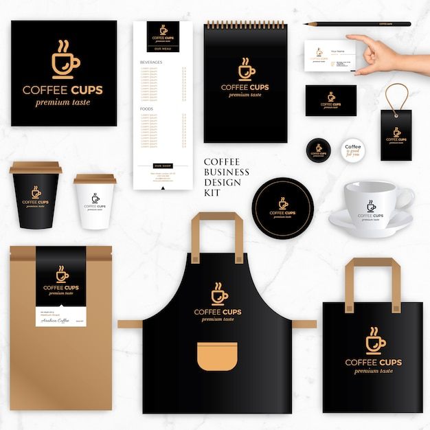 Brand Identity Vector Templates for Coffee Brand Premium Vector