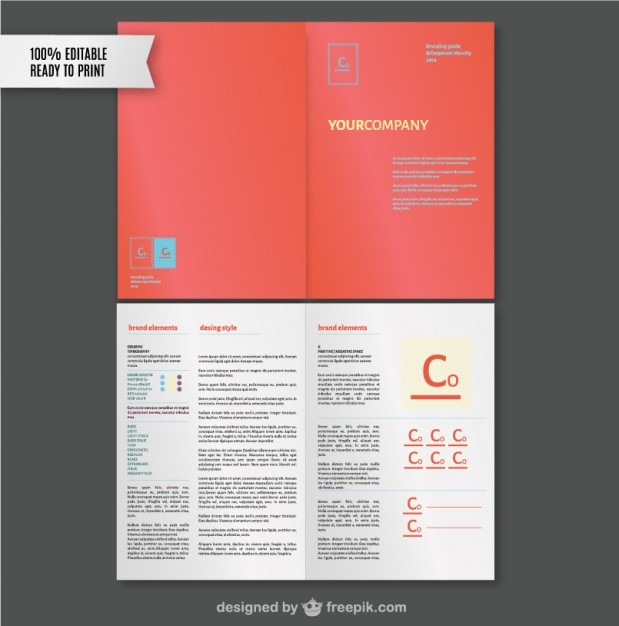 Brand style guide template Free Vector