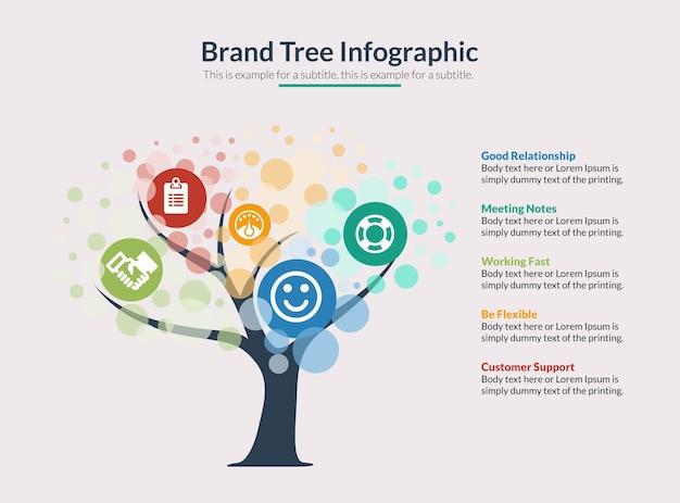 Brand tree infographic vector Premium Vector