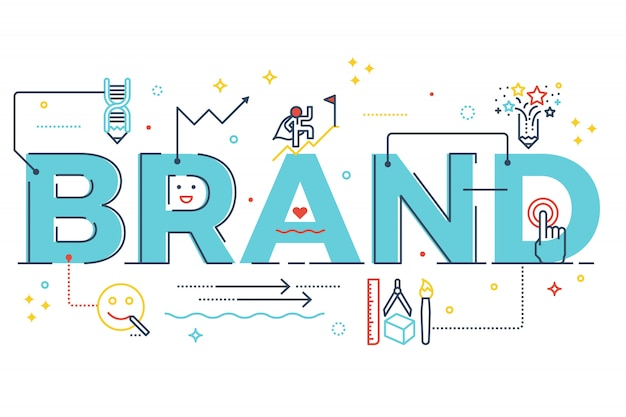 Brand word lettering typography design illustration with line icons Premium Vector