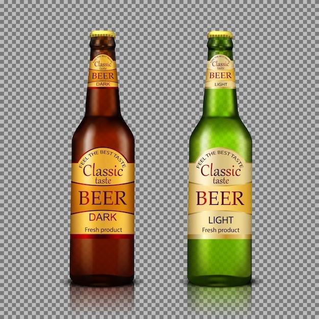 Branded bottles of beer realistic Free Vector