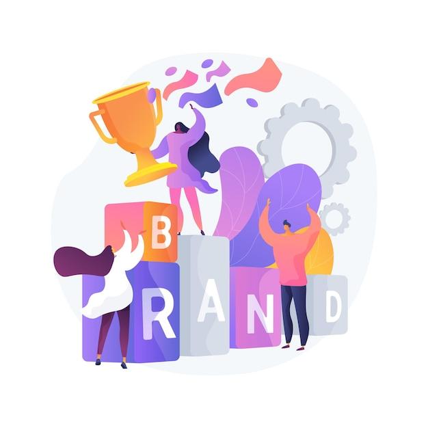 브랜드 경쟁 추상 개념 벡터 일러스트입니다. 마케팅 경쟁 이벤트, 회사 후원 콘테스트, 브랜드 아이덴티티, 리 브랜딩 미디어 캠페인, 디지털 광고 추상 은유. 무료 벡터