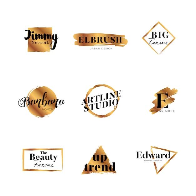 Branding gold brush logo type design collection Premium Vector