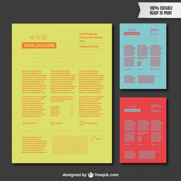 Branding guide in different colors Vector – It Manual Templates to Download