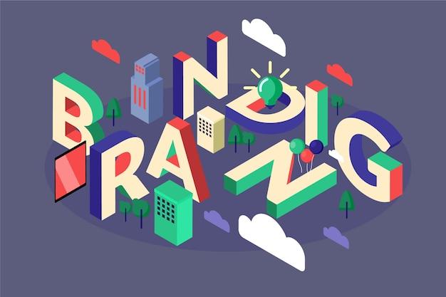 Branding isometric typographic message Free Vector