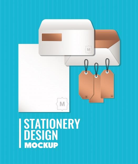 ブランディングモックアップ封筒とコーポレートアイデンティティと文房具のデザインテーマのラベル Premiumベクター