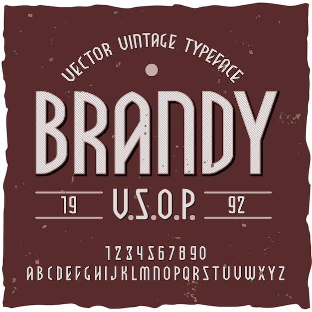 Sfondo di brandy con etichetta di carattere tipografico vintage con testo ornato modificabile e illustrazione di lettere Vettore gratuito