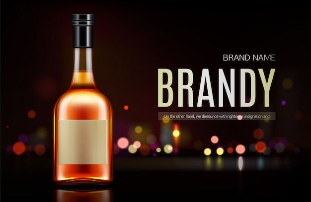 Brandy bottle banner Free Vector
