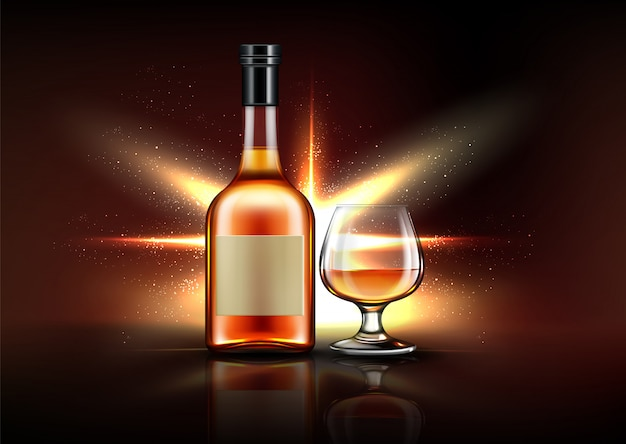 Brandy bottle and glass Free Vector
