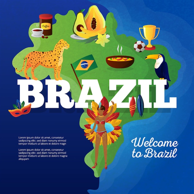 Brasil cultural symbols map for travelers flat poster with toucan bird and football cup trophy Free Vector