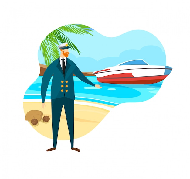 Brave bearded man in sea captain suit and cap. Premium Vector