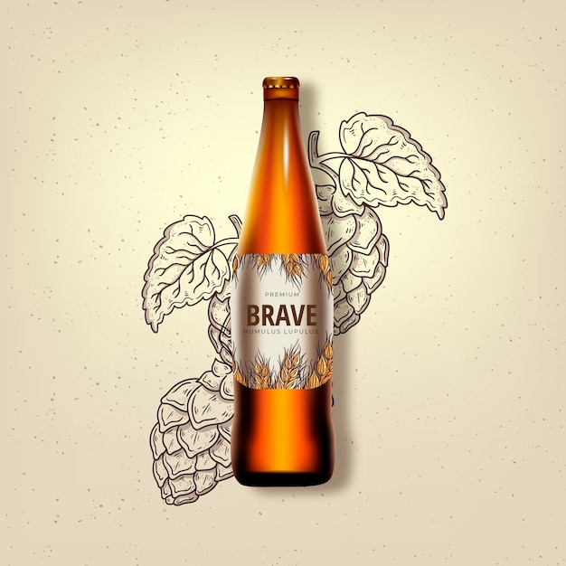 Brave beer in a glass bottle ad Free Vector