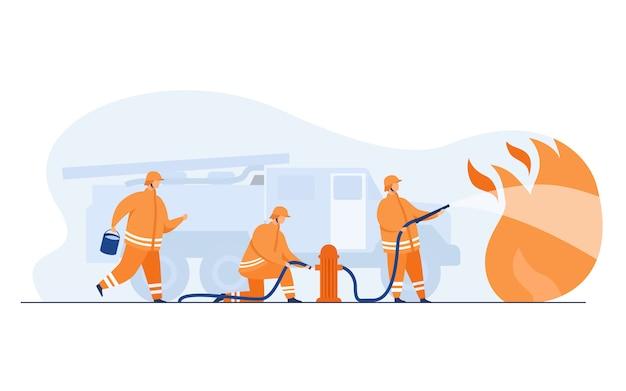 勇敢な消防士が炎で消防 無料ベクター