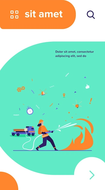 Храбрые пожарные в униформе и шлемах пожаротушения изолировали плоскую векторную иллюстрацию Бесплатные векторы