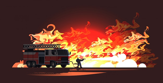 Brave fireman near fire truck extinguishing flame firefighter wearing uniform and helmet spraying water to wildfire firefighting emergency service concept Premium Vector