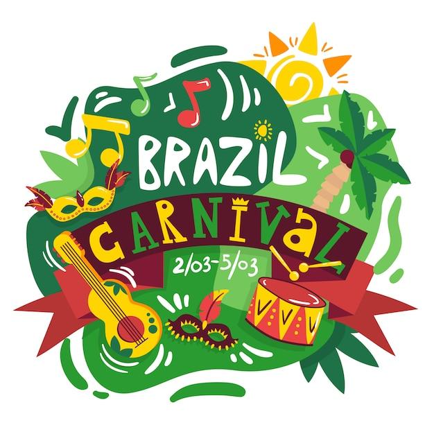 국가 색 음악 기호 및 악기 벡터 일러스트와 함께 브라질 카니발 연례 축하 날짜 발표 구성 포스터 무료 벡터
