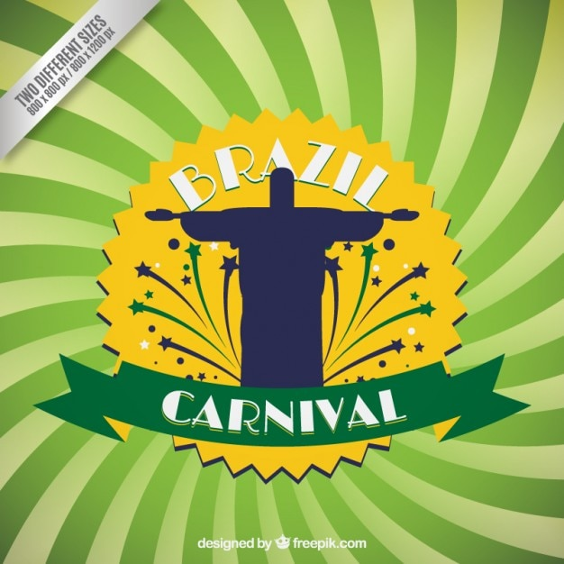 Brazil carnival background with Redentor Christ silhouette