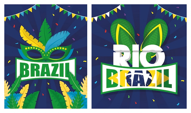 Brazil carnival illustration set with mask and sandals Premium Vector
