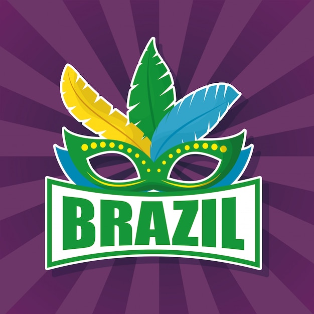 Brazil carnival illustration with feather mask Premium Vector