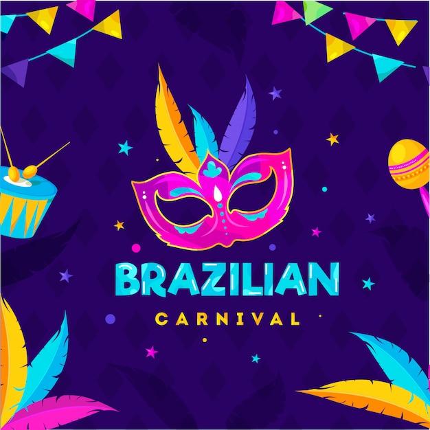 Brazil carnival party background. Premium Vector