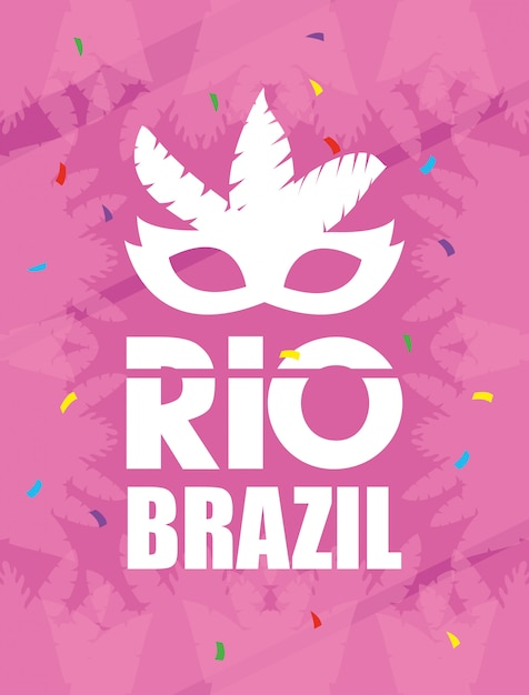 Brazil carnival poster with feathers mask Premium Vector