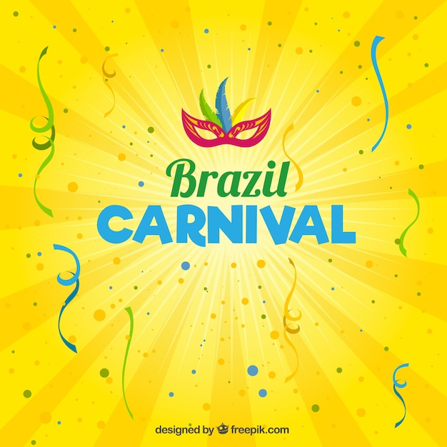 Brazil carnival yellow background Free Vector
