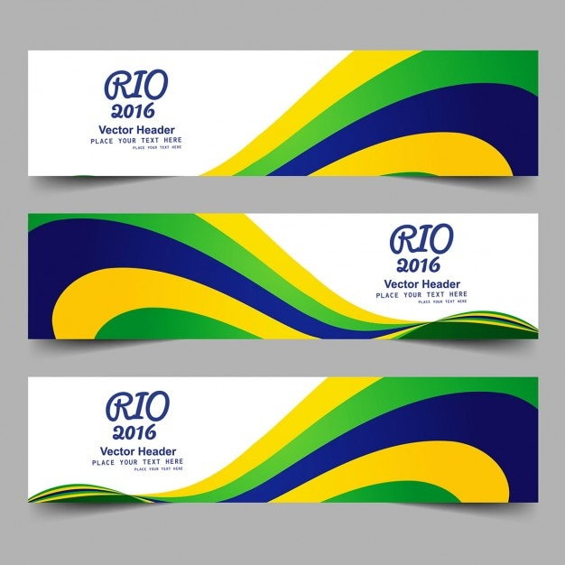 Brazil Color Banners With Waves Vector Free Download