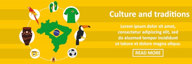 Brazil culture and traditions banner template horizontal concept Premium Vector