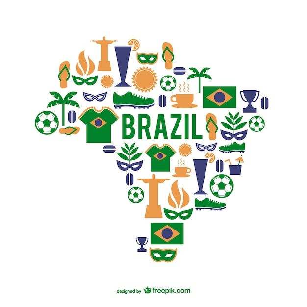 Brazil Elements And Map Vector Free Download - Brazil map illustration