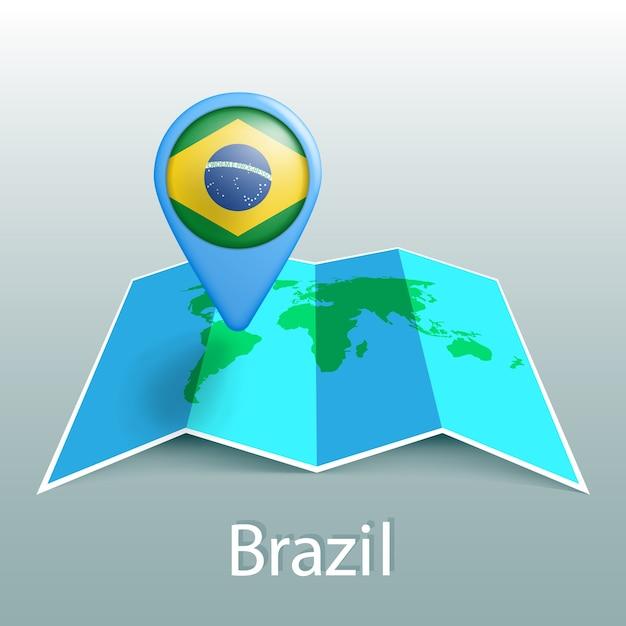 灰色の背景に国の名前とピンでブラジルの旗の世界地図 Premiumベクター