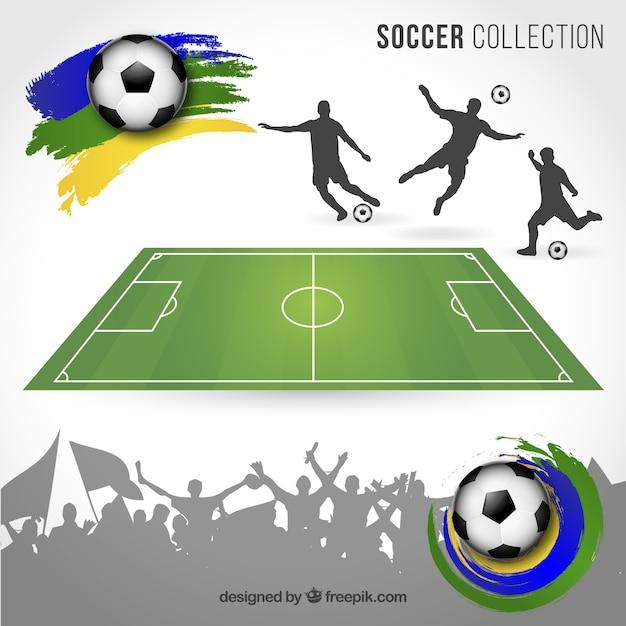 Brazil football elements Free Vector