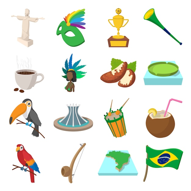 Brazil icons in cartoon style for web and mobile devices Premium Vector