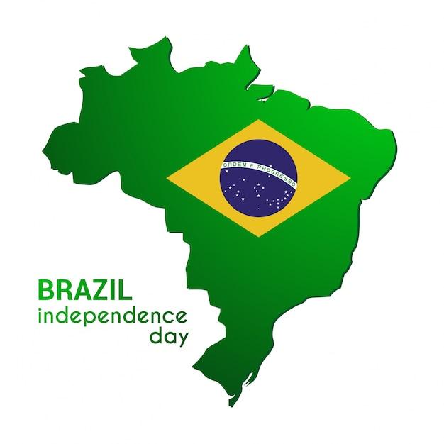 Бразилия счастливый день независимости карта страны в цвете цвета флагов Бесплатные векторы