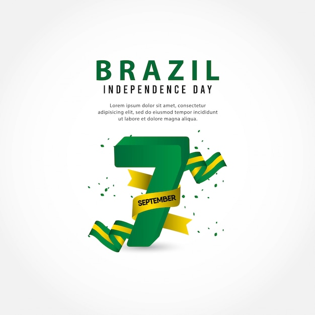 Brazil independence day template. 7th september. Premium Vector