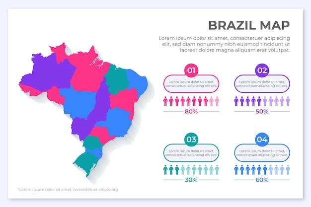Бразилия карта инфографики в плоском дизайне Бесплатные векторы