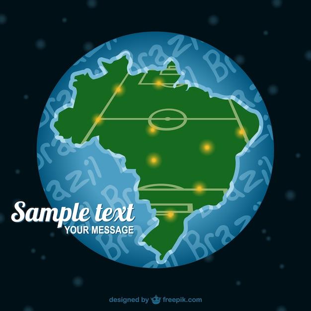 Brasile mappa del campo di calcio vettore Vettore gratuito