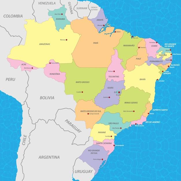 Карта бразилии Premium векторы