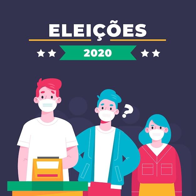 Очередь голосования людей бразилии с лицевой маской Premium векторы