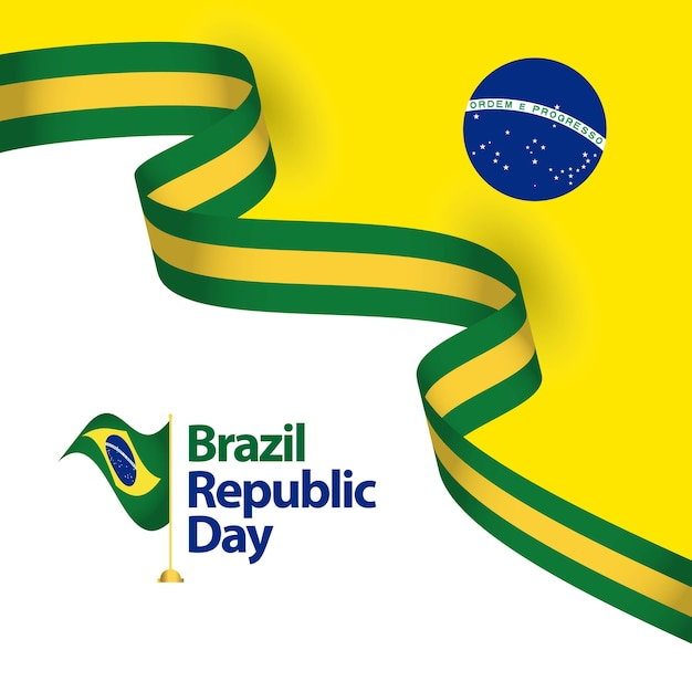 Brazil republic day vector template design illustration Premium Vector