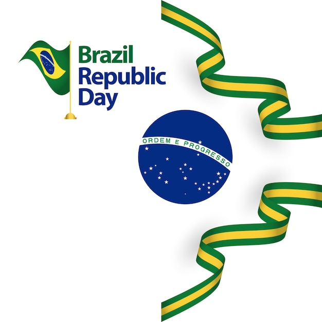 Brazil republic day vector template design illustration Premium Vector