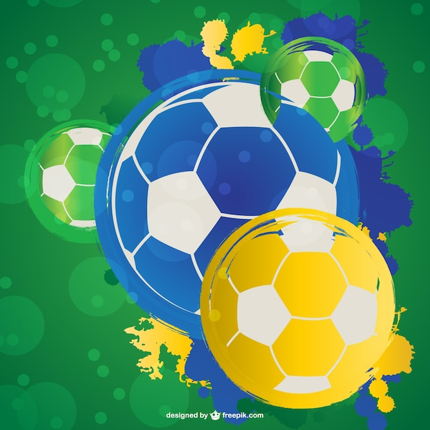 Brazil soccer ball backgrond  Free Vector