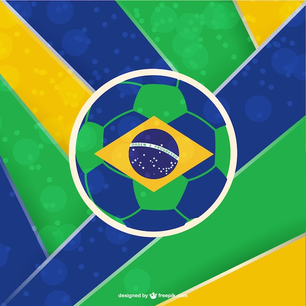 Brazil soccer ball striped background Free Vector