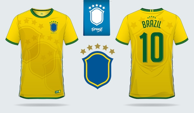 3925d06b3 Brazil soccer jersey or football kit template Premium Vector