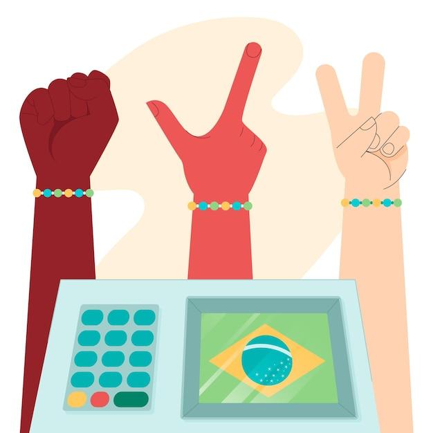 Иллюстрация выборов в бразилии Бесплатные векторы
