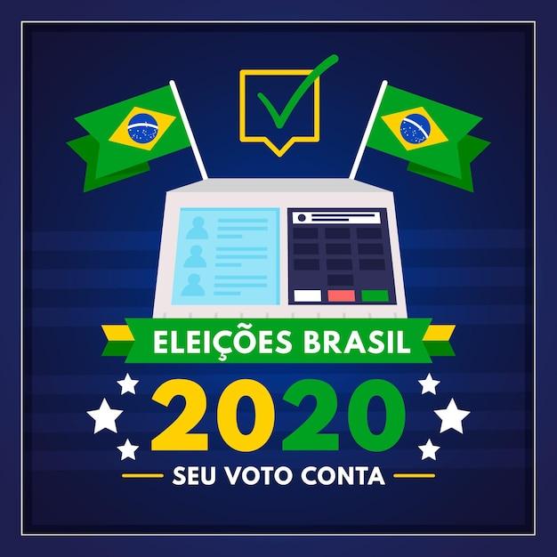Иллюстрация выборов в бразилии Premium векторы